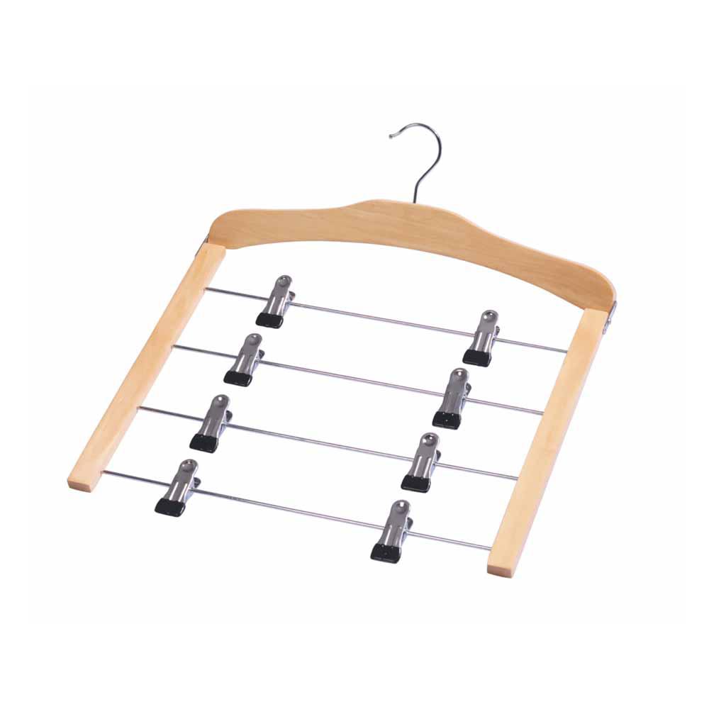 木质四层金属夹裤架